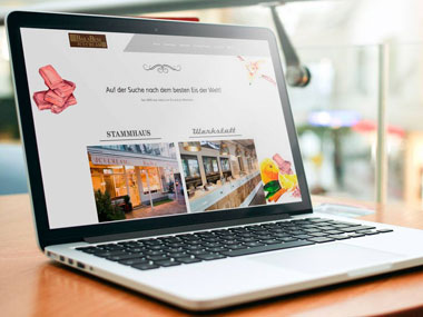 Mockup der Website von Ballabeni Icecream